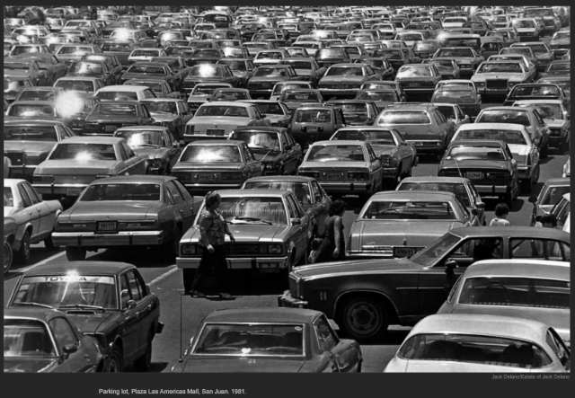 Parking lot, Plaza Las Americas Mall, San Juan. 1981. Jack Delano