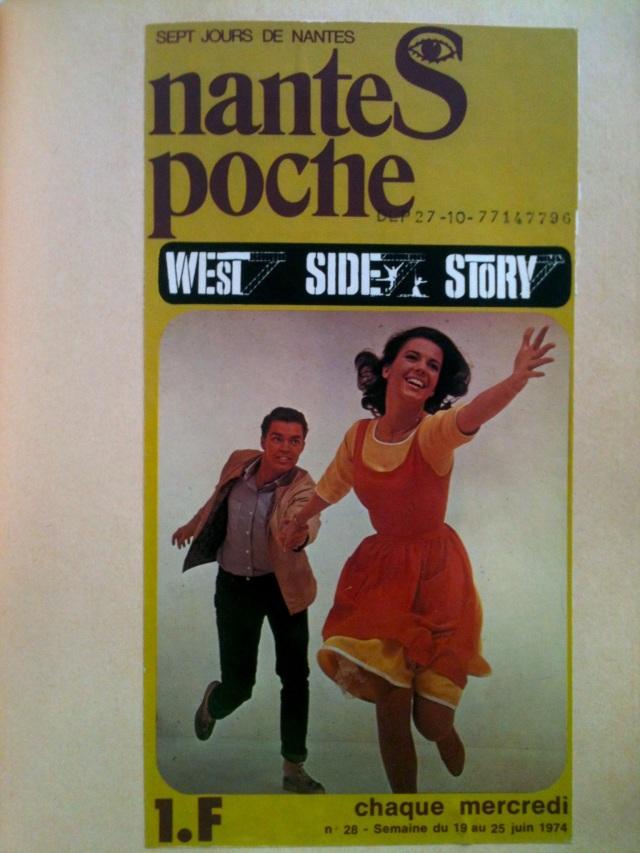 Affiche cinéma West Side Story apparu dans Nantes Poche - Sept jours de Nantes. Publication hebdomadaire (chaque mercredi). N° 28 - Semaine du 19 au 25 juin 1974