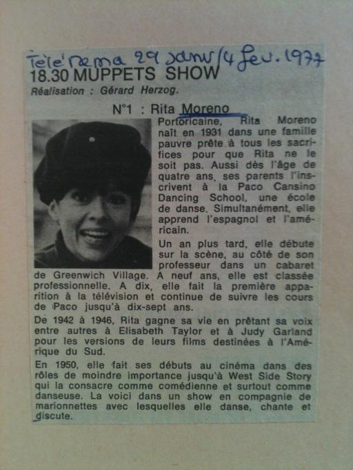Article sur Rita Moreno, dans Télérama 1997.