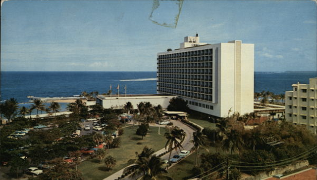 "Postcard ""Caribe Hilton""; San Juan, Puerto Rico (PR). Postmark/Cancel on November 21st, 1956"