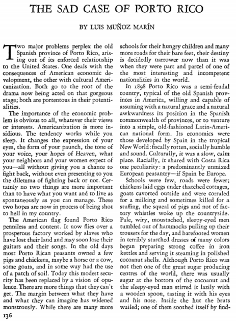 Muñoz Marín, L. (1929, February). The sad case of Porto Rico. The American Mercury, XVI(62), 136–141.