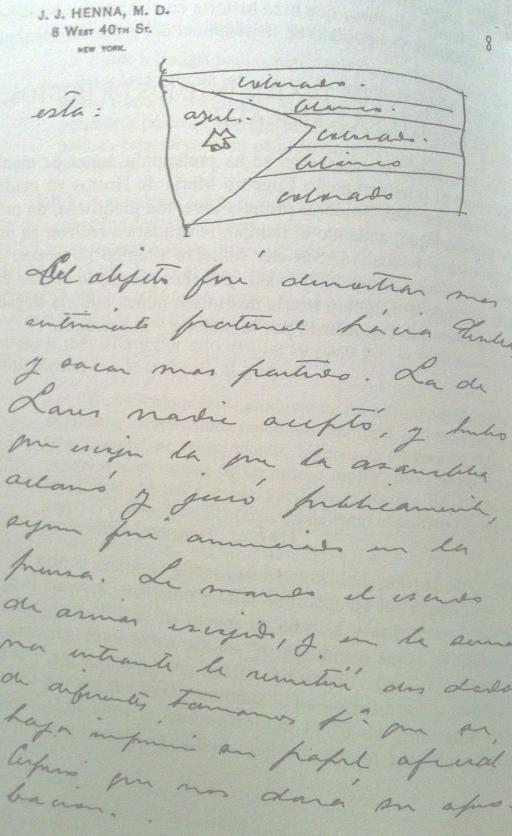 Dibujo de la bandera puertorriqueña que el doctor Henna envía a Betances en una carta con fecha 28 de febrero de 1896.