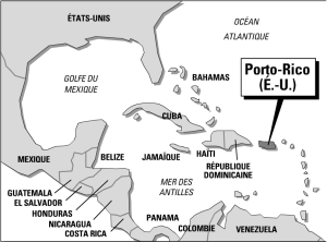 Carte de localisation de Porto-Rico (Juin 1993, par Philippe Rekacewicz)