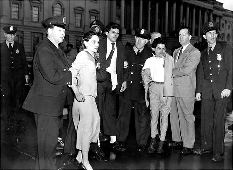 Members of the Capitol Police held the Puerto Rican nationalists Lolita Lebron, Rafael Miranda and Andres Cordero as they were taken into custody on March 1, 1954, after a shooting from a House gallery.
