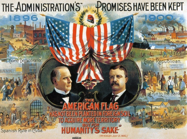 "Images of McKinley and Roosevelt. Text below candidates reads ""The American Flag Has Not Been Planted In Foreign Soil To Acquire More Territory But For Humanity's Sake"" / (McKinley, July 12, 1900). Top of left side reads ""1896.""   Three vignettes appear below date with captions below each.   First is closed factory ""Gone Democratic.""   Next is ""A Run On The Bank.""  Bottom shows starving prisoners ""Spanish Rule In Cuba.""  Right side has ""1900"" date at top with illustration of smokestacks, steamships and locomotives with caption ""Gone Republican.""   Next is ""A Run To The Bank.""   Bottom right shows a teacher in a ""Public School"" and farmers in the field captioned ""American Rule In Cuba."""