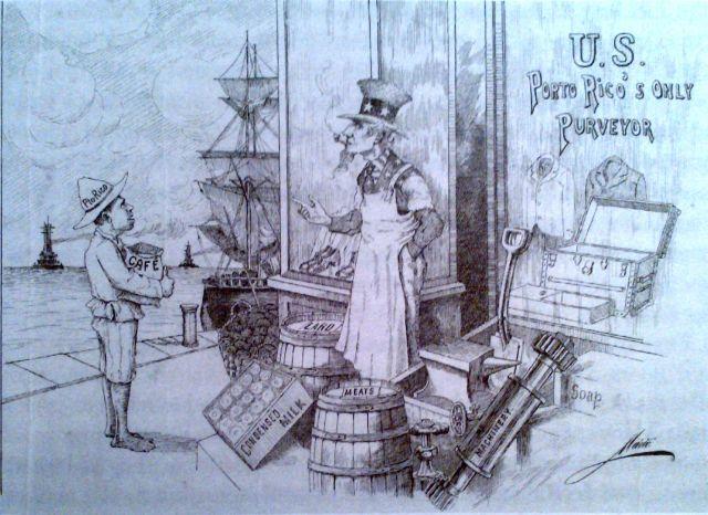 """""""U.S. Porto Rico's Only Purveyor"""", Drawing by Mario Brau de Zuzuárregui, in Colección de dibujos de Mario Brau (1904-1915)."""