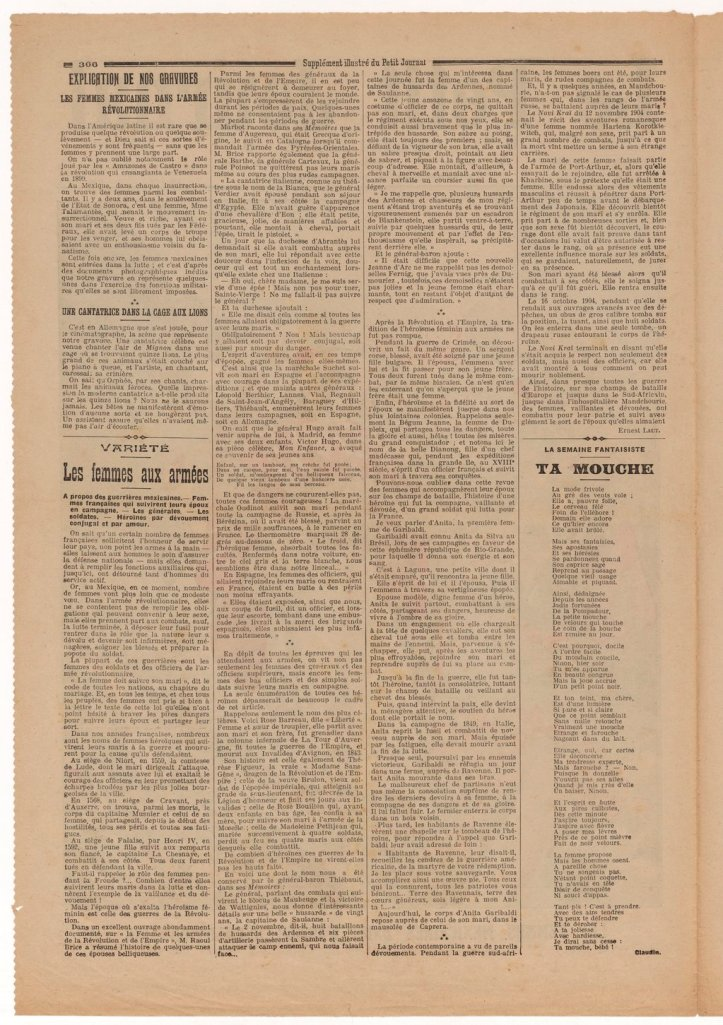 """Mujeres mexicanas en armas. [Las Mujeres (sí, con mayúscula) mexicanas en la revolución. Periódico francés """"Le Petit Journal"""" , domingo 16 de noviembre de 1913.]"""